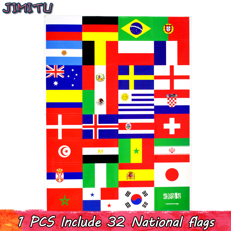 32 Countries National Flags Stickers Toys for Children Fans of Football Soccer to Stick on Face Arm Clothes Laptop Scrapbooking стоимость