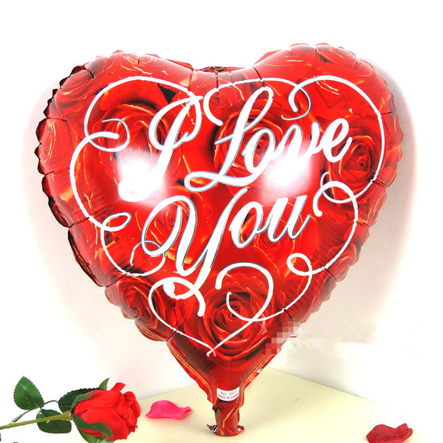 18 Pouce Coeur Rose Je T Aime Fleur En Aluminium Feuille Ballons