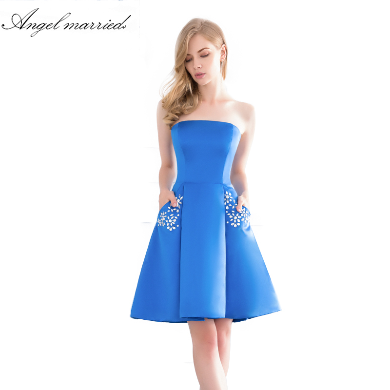 Online Shop Angel Married Simple Short Prom Dress With Pockets Blue
