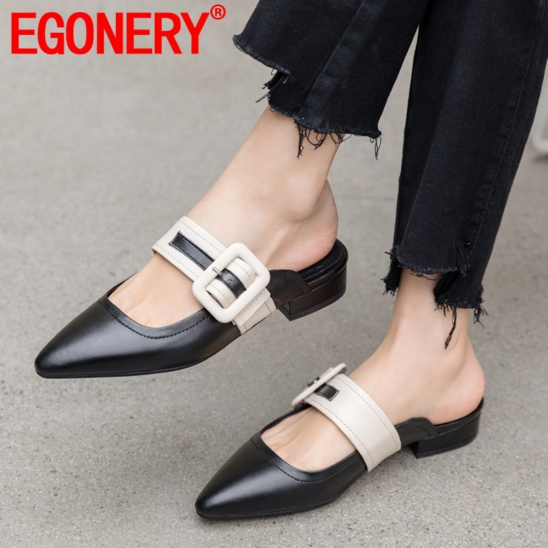 EGONERY woman shoes 2019 summer new concise casual high quality genuine leather woman slippers outside comfortable ladies shoesEGONERY woman shoes 2019 summer new concise casual high quality genuine leather woman slippers outside comfortable ladies shoes