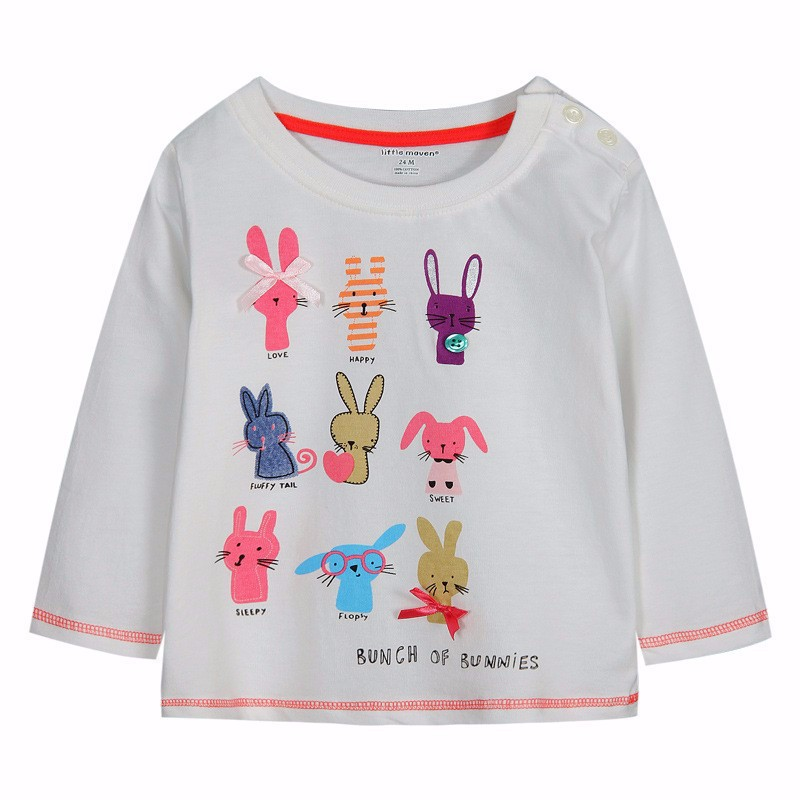 95db944f0 New brand girls t shirts,kids cotton long sleeve tops, children white  tees,printed rabbits,next clothing style for 1 6 yrs-in Tees from Mother &  Kids on ...