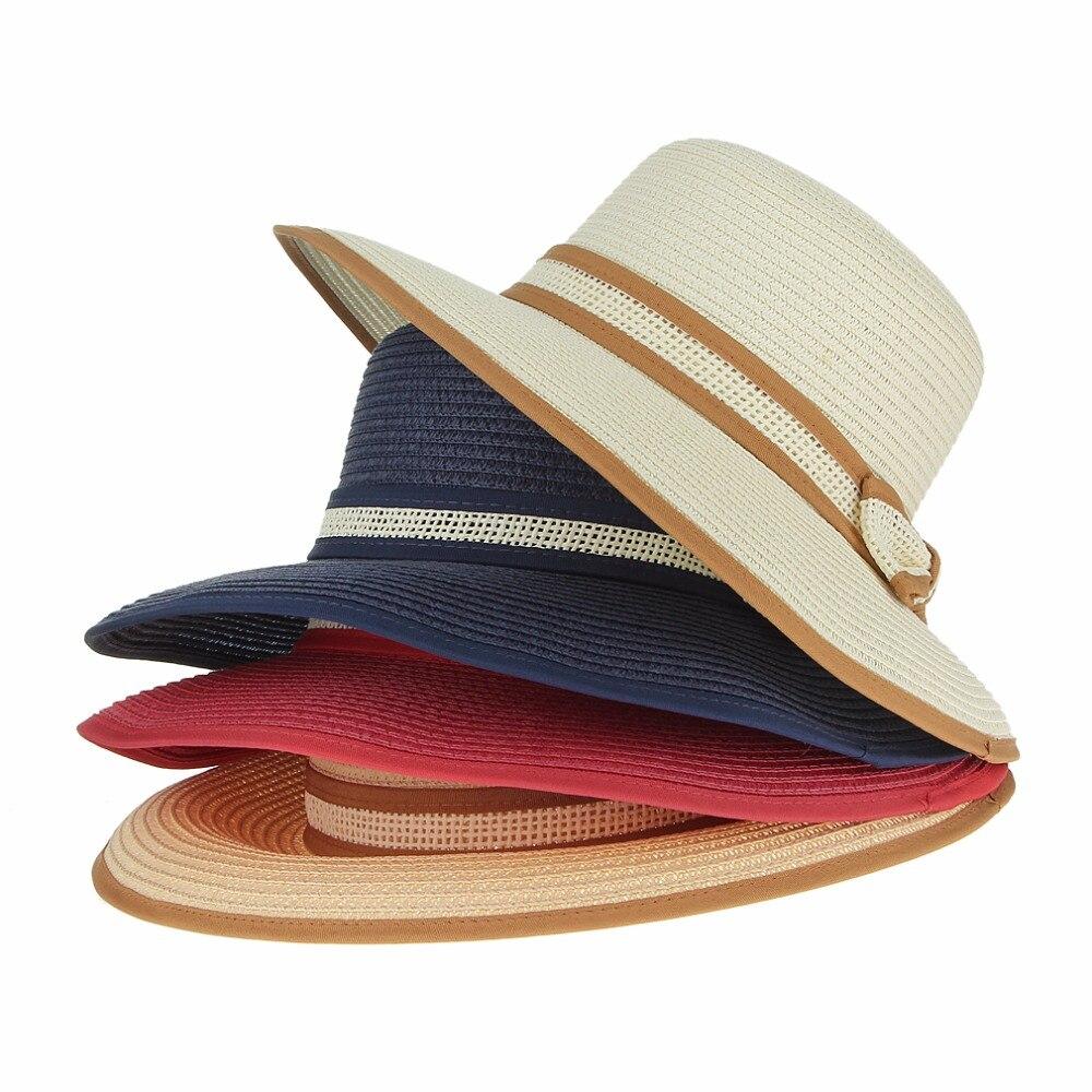 Buatan Tangan Rajutan Kertas Matahari Topi Lebar Pinggir Musim Panas Hat Ikatan  Simpul Datar Bernapas Topi Pantai Topi Topi untuk Wanita Gadis di Topi ... 382df3445c