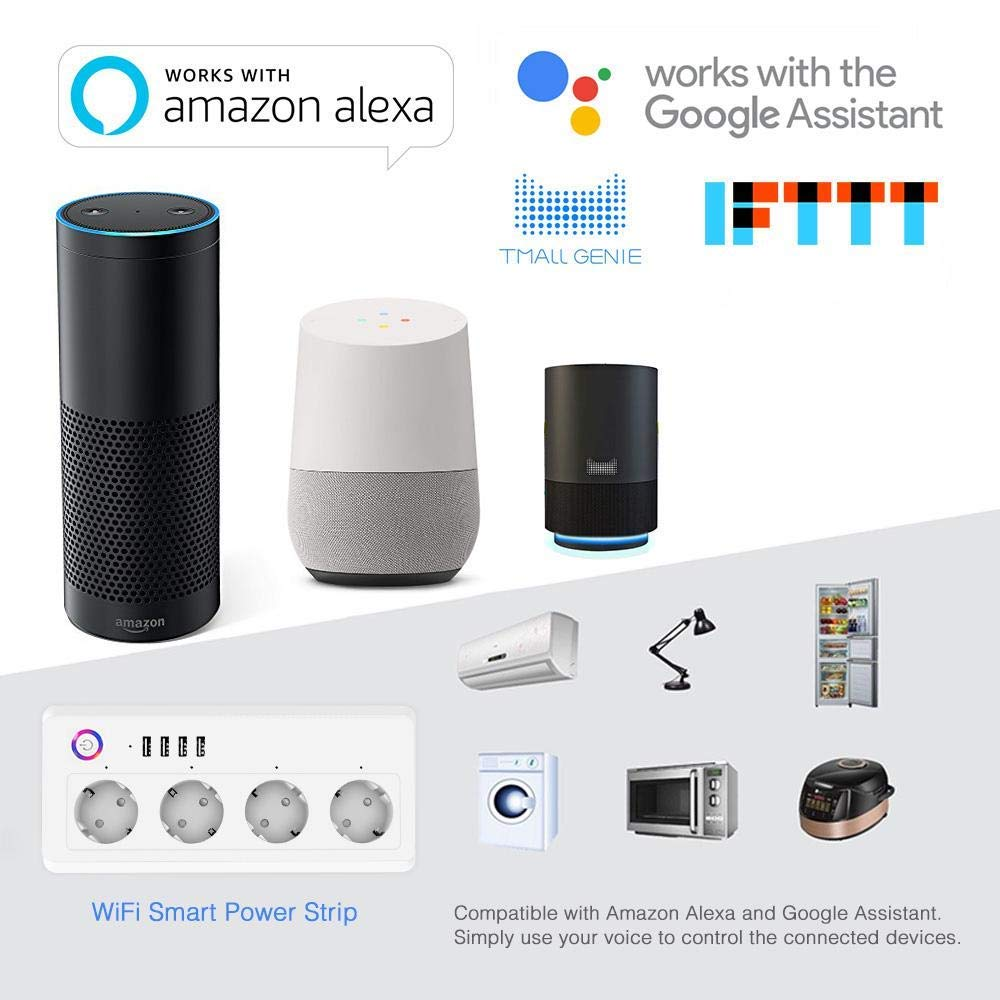 Prise Wifi intelligente multiprise protection contre les surtensions prises multiples 4 ports USB commande vocale pour la maison Google d'amazon Echo Alexa - 2