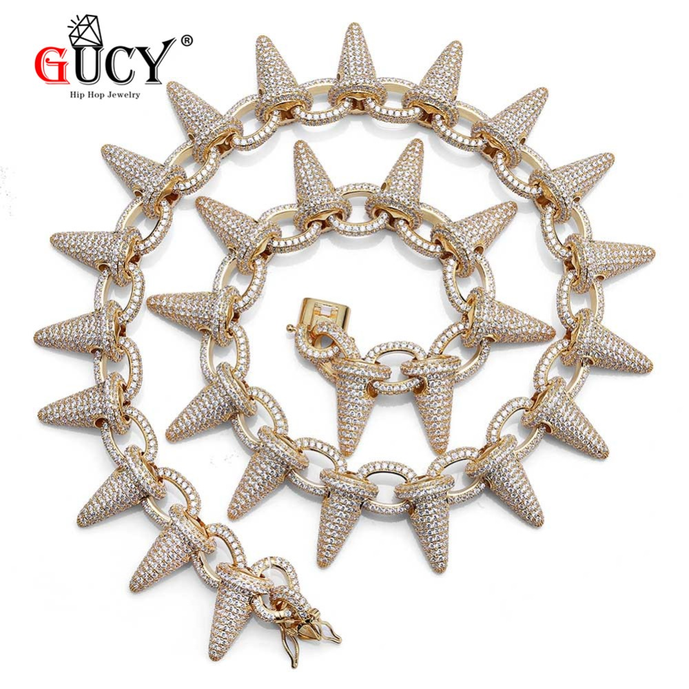 GUCY Iced Out Heavy Punk Rivet Choker Bling Cubic Zircon Men's Hip hop Spikes Necklace Gold Silver Color Jewelry Chain 18 22