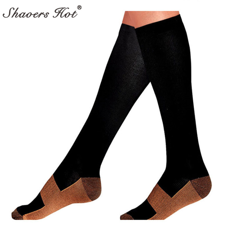 Selling polyamide thin leg fat burn prevent varicose vein compression Copper fiber socks pressure sports socks
