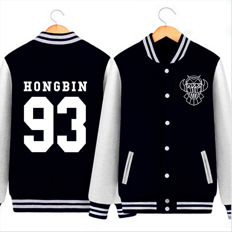 HPEIYPEI KPOP Coréenne Mode VIXX 5nd Album Zelos Hyuk Hong Bin Ken Leo N Ravi Coton K-POP Baseball Veste Manteau PT117