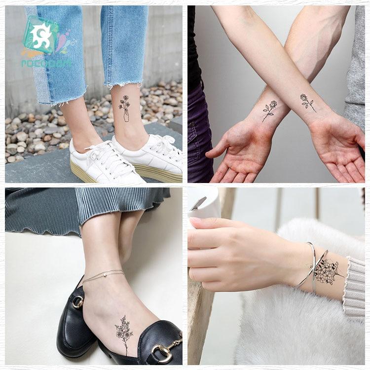 Rocooart Black White Style Tattoo жапсырма Tree Taty Flower - Тату және дене өнері - фото 3