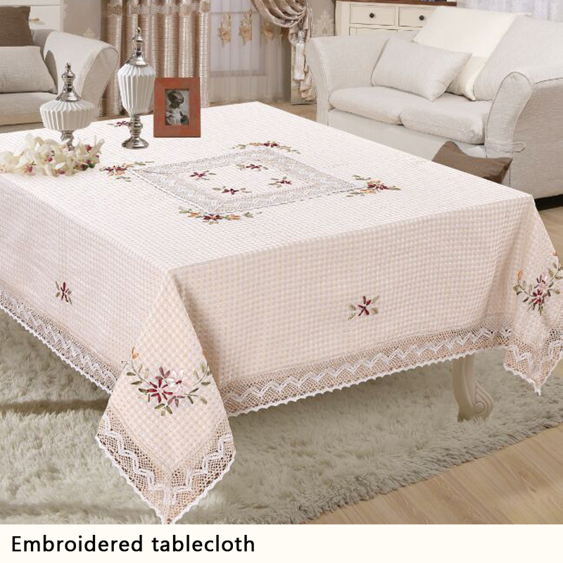 Polyester White Floral Weave Lace Tablecloth Square Table Cloth For Wedding Party table covers home decoration