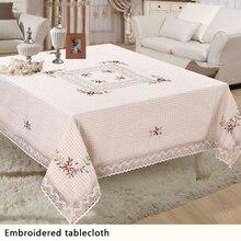 Polyester Weiße Blumen Weben Spitze Tischdecke Quadrat Tischtuch Für Hochzeit tischdecken dekoration 150*220 cm XH001