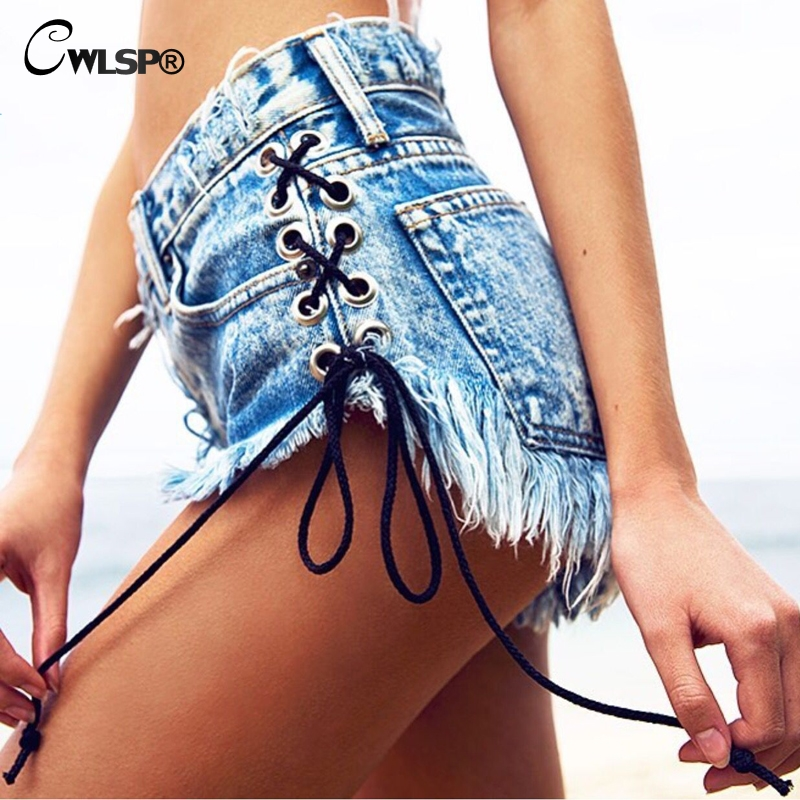 CWLSP Sexy Women Shorts Tassel Jeans Side Cross Lace Up High Waist Short Pants Woman Denim Snow Holes bf Punk Shorts QL3189 ...