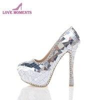 2018 новейшие дизайнерские Великолепная уникальный 1,57 дюйм(ов) платформы роскошные серебряные свадебные туфли для ночного клуба каблук стил