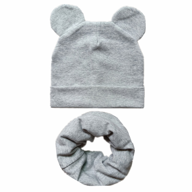 Cute Ears Children Hats Autumn Winter Crochet Baby Hat Scarf Set Girls Boys Cotton Beanies Cap Toddler Kids Hat Scarf Collar Set