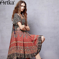 Artka Women S 2017 Spring Vintage Ethnic Printed Comfy Dress Fashion O Neck Butterfly Sleeve Wide