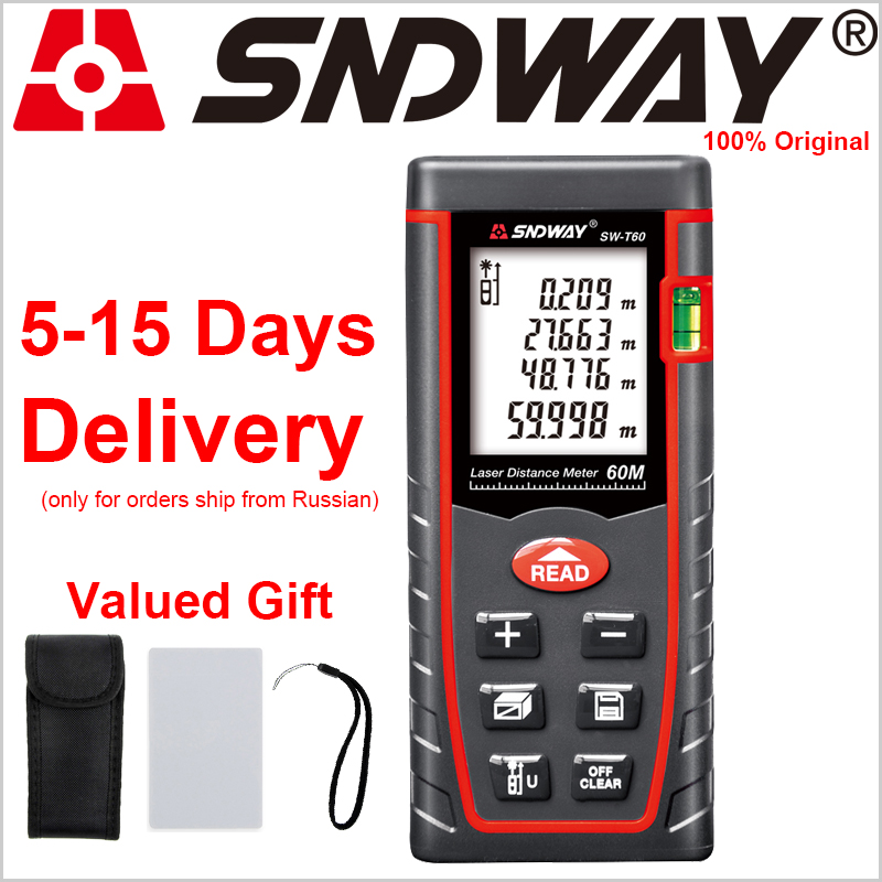 SNDWAY Laser Mete 60M Rangefinders Laser Distance Meter Range Finder Roulette Measure Distance/Area/volume Angle With Battery