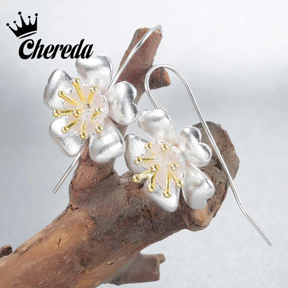Chereda  Sltering  Bloom Flower Attract Drop Earring For Charms Women Fashion Plant Jewelry Beauty Accessories Gift