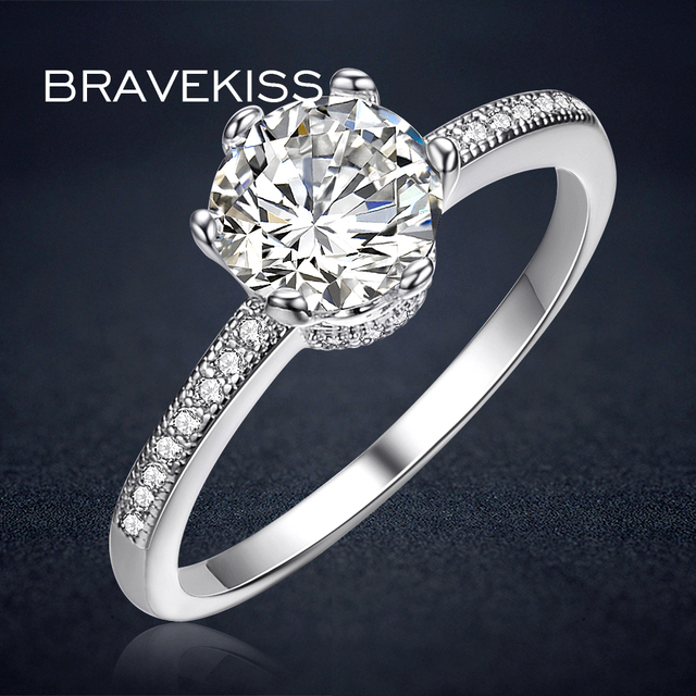 bravekiss round cz stone solitaire rings for women promise engagement wedding ring bands aneis ringer vrouwen - Wedding Rings And Bands