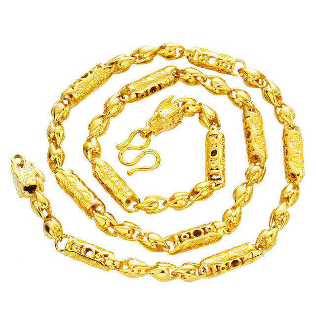Fine Mens Necklace Curb Cuban Link Tone 24K Gold Necklace Chain for Male Rapper Necklace Jewelry Groom Wedding Gold Necklace