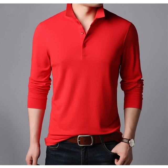Long-sleeved Men's Non-ironing T shirt Spring Autumn Pure Color Turn-down Collar Tees Business Casual Cotton T-shirts