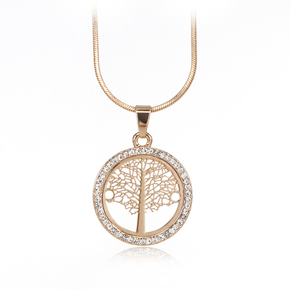Tree Of Life Pendant Necklace Women Jewelry Rose Gold Color Snake Chain Czech Crystal Fashion Necklaces & Pendants 2016 XL06434