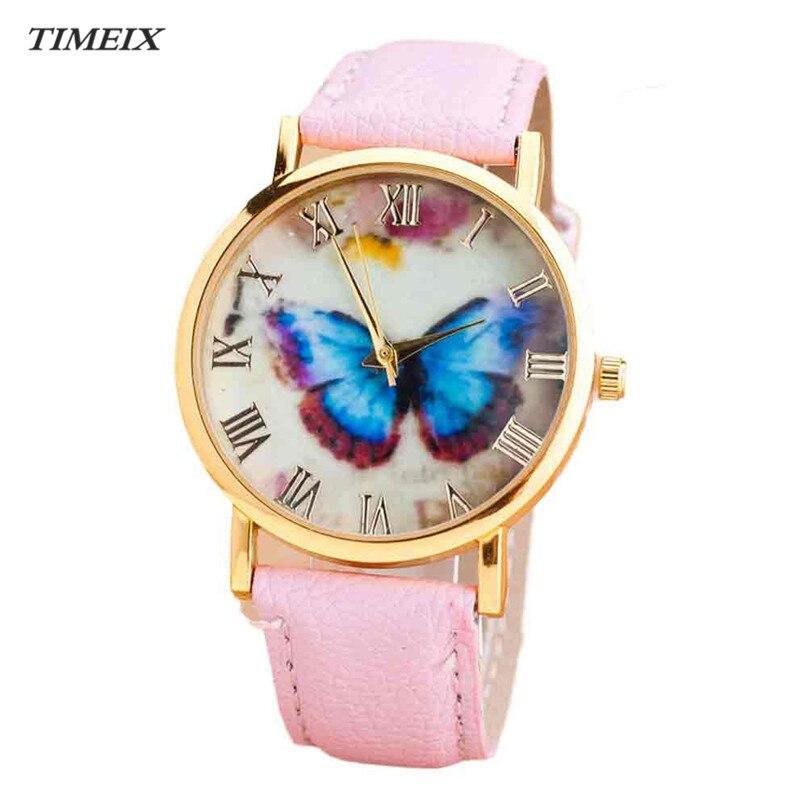 Women Watches 2017 New Fashion Butterfly Style Leather Band Analog Quartz Wrist Watch Free Shipping Mar