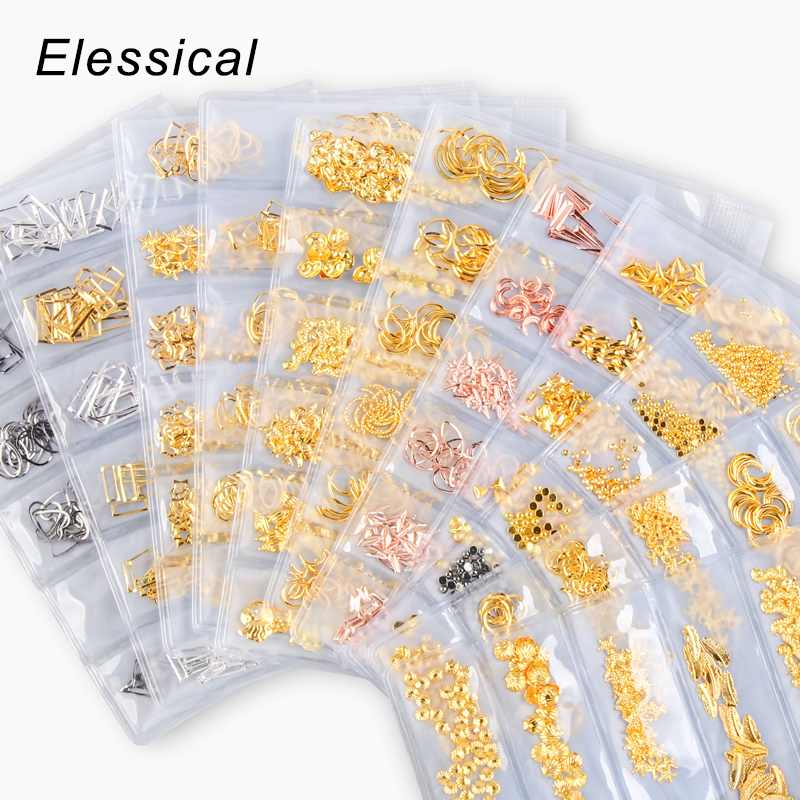 6 Grid/Bag Mix Hollow Metal Frame Nail Art Decorations Gold Rivet Nail Stickers Manicure Accessorries Nail Slider DIY