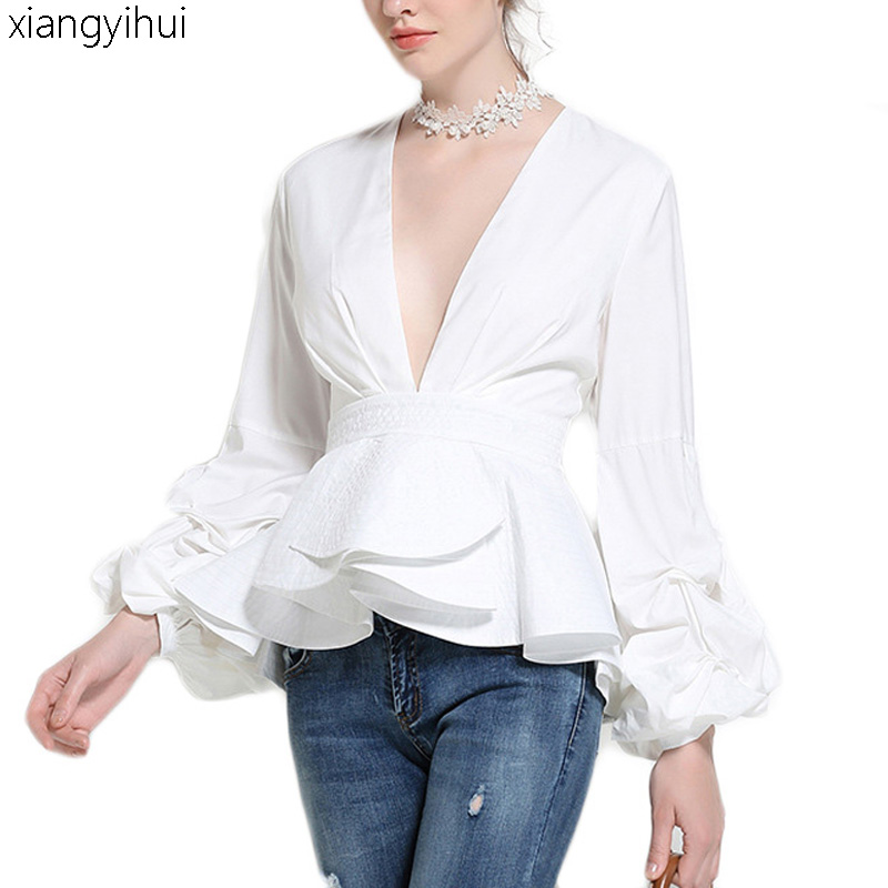 Winter Women's tunic Lantern Sleeve Shirt Black White Blue Sexy Deep V Neck Ruffle Blouse Top Female Women Casual Clothes 2018