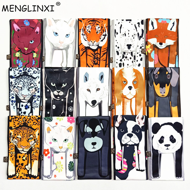 Animal Scarf New Design Print Scarf Women 2020 Fashion Head Scarf Luxury Brand Small Tie Bag Ribbons Foulard Scarf For Ladies