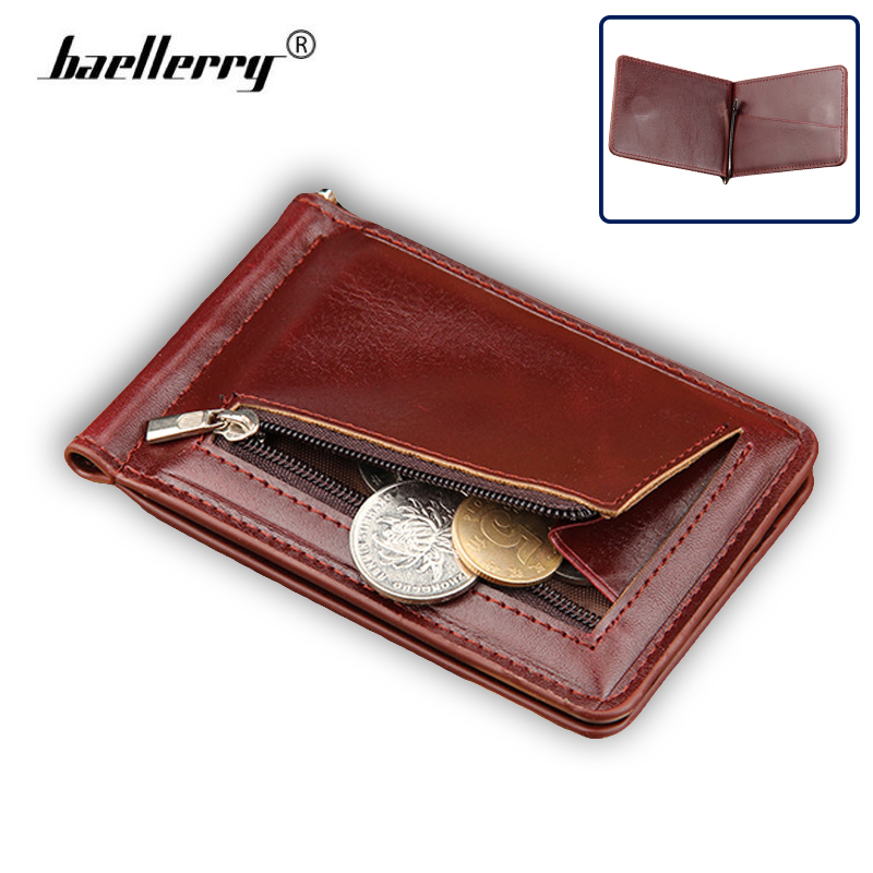 2017 New Fashion Slim Money Clip Män Wallet Leather Clamp för - Plånböcker
