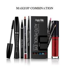 1 set Lip gloss Mascara Eyeliner Eyebrow Pencil Eyeshadow Pencil Lip liner Pencil profession make up set begginer essential A4