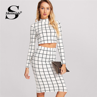 Sheinside Black And White Plaid Long Sleeve Crop Top And Pencil Skirt Plaid Twopiece 2018 Spring
