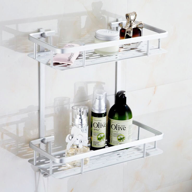 1 Set Aluminum Dual Tier Bolt Inserting Type Bathroom Shelf Toiletries Rack Wall Mounted Fixture Products