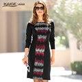 Kaigenina новинка горячая распродажа женщины  платья-чехол печать о-образным длиной до  колена  платье с дриными рукавами1174