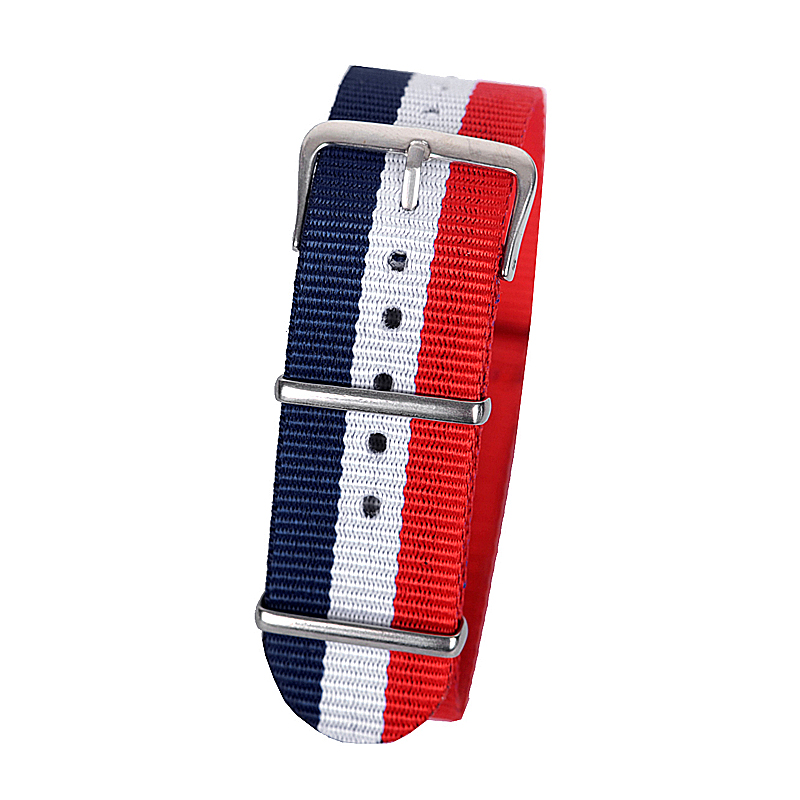 все цены на 22mm dark blue white red Sport nato fabric watch band straps accessories Bands nylon watchband steel Buckle belt онлайн