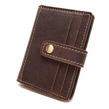 b93e92abef7 Nesitu Crazy Horse Genuine Leather Men Id Card Holder Hasp Open 10 Slots  Credit Card Holder Slim Small Purse Men Wallets  Y1018