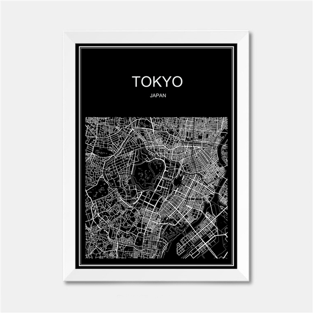 Tokyo japan world city map modern poster print paper retro abstract bar cafe pub living room