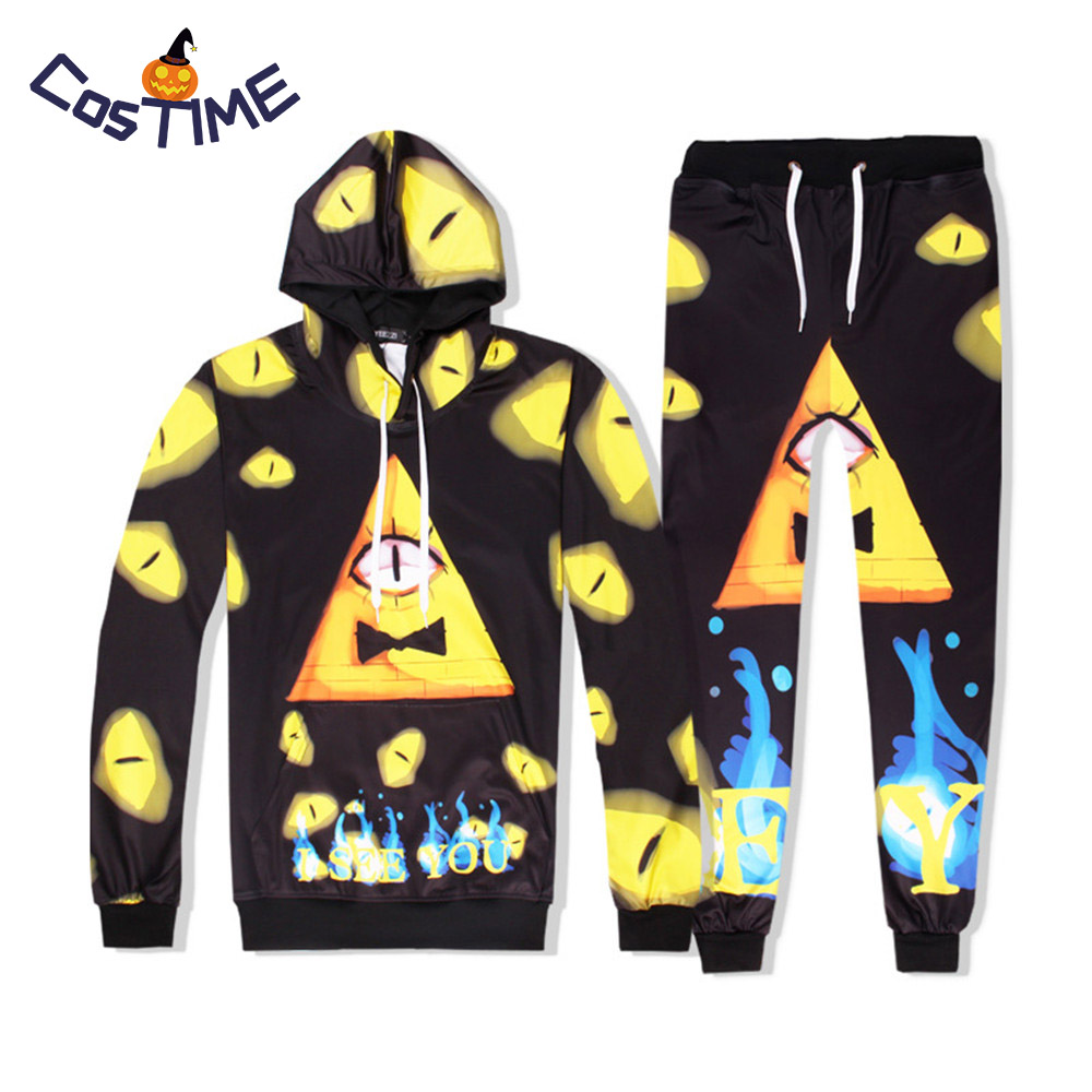 Gravity Falls Hoodies Bill Cipher Costume 3D Print Cartoon Sweatshirts Funny Adult Unisex Streetwears Halloween Costume