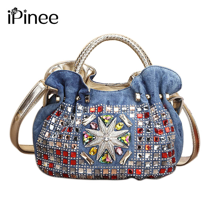 iPinee 2017 Women Denim Bags Jeans Handbag High Quality Ladies Bags With Diamonds Rivet Messenger Bags Women's Shoulder Bag men s cowboy jeans fashion blue jeans pant men plus sizes regular slim fit denim jean pants male high quality brand jeans