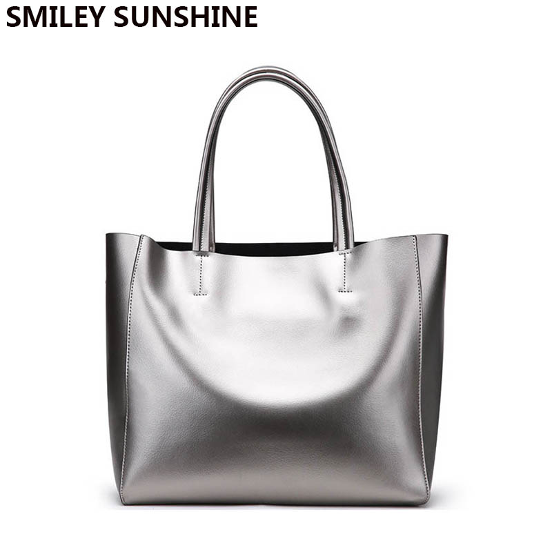 Brand Silver Genuine Leather Women Bags 2018 Large Purses and Handbags Female Shoulder Bags Ladies Big