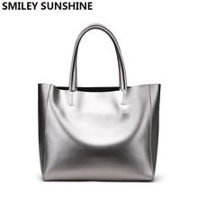 Brand Silver Genuine Leather Women Bags 2018 Large Purses an
