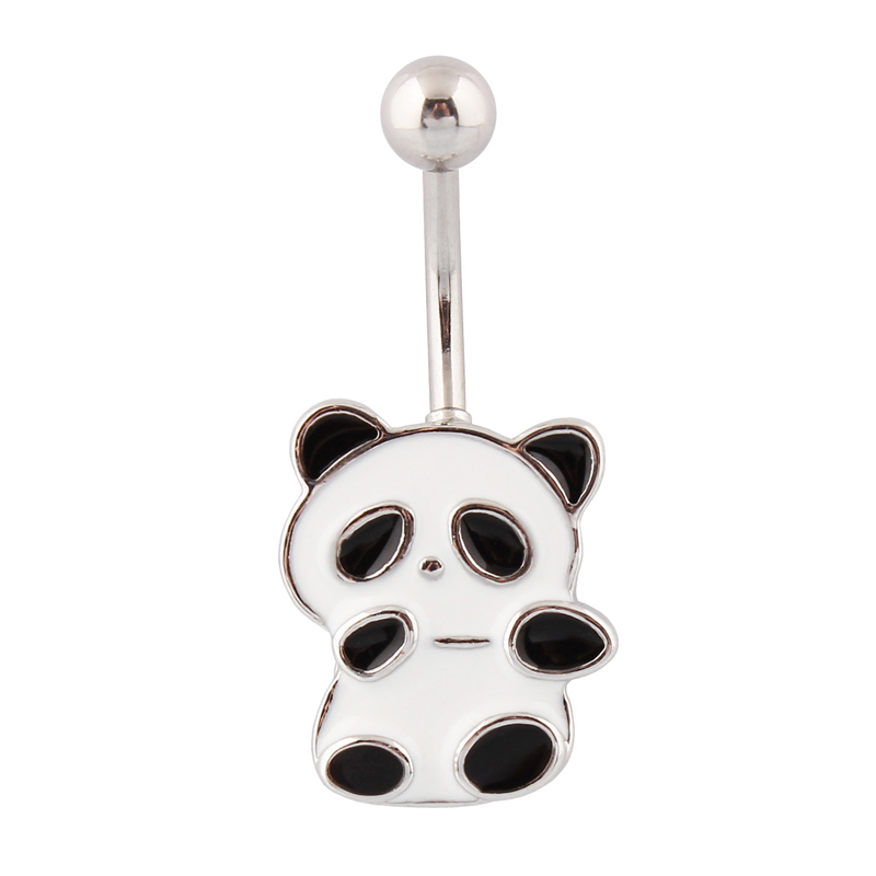 Body jewelry Panda belly button rings navel rings fashion body piercing Wholesale 14G stainless Steel bar Free Shipping