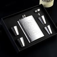 Piatto in acciaio inox brocche Russo maligni pentole esterno portatile domestico bottiglia bottiglia di acqua piatta 8 oncia gift box 12*9 cm