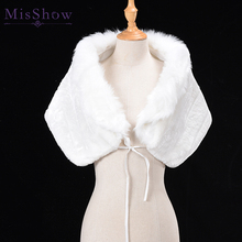 Cheap Warm faux fur Coat White Wedding Wrap Winter Wedding Bolero 2018 Jacket Bridal Coat Wedding Accessories Wedding Cape Coat blue flower girl faux fur cape child kid winter jacket hooded wrap bolero with hand muff evening prom coat outwear cloaks