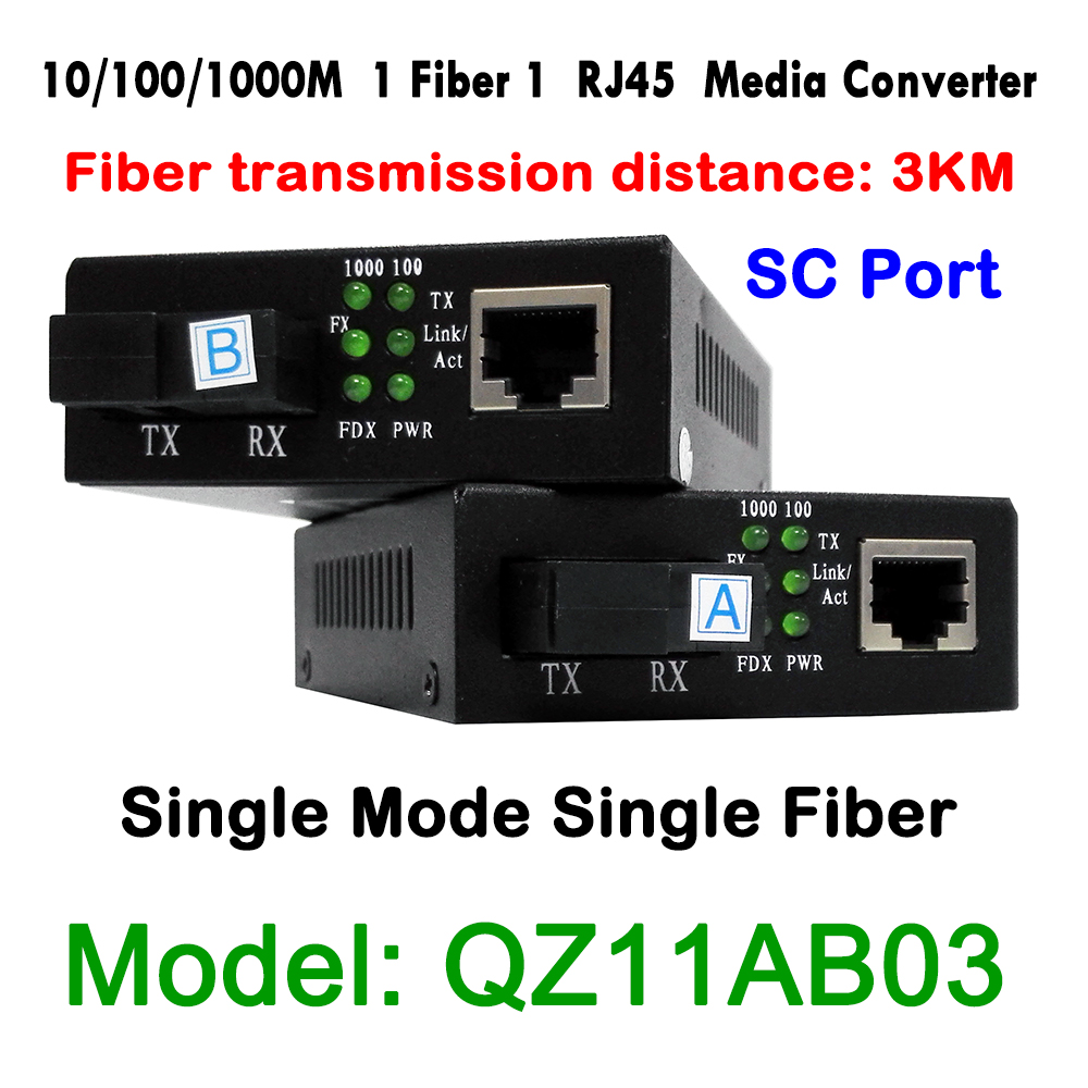 1Pair SC port 1CH Fiber 1ch RJ45 Ethernet Fiber Optical Media Converter 10/100/1000Mbps Single Mode Single-Fiber DC5V Power new single fiber single mode optical transceiver 10 100m 1000mbps sc port 20km 2ch fiber 8ch rj45 fiber optical media converter
