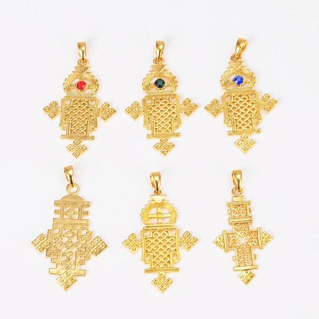 New ethiopian 5632cm gold cross pendant necklace gold color new ethiopian 5632cm gold cross pendant necklace gold color eretrian coptic jewelry crosses aloadofball Choice Image