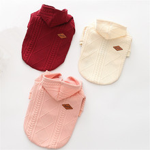 New Autumn/winter Wool Dog Sweater Simple twin dyed jacquard Hooded Knitting for Medium and Big Pet Clothes