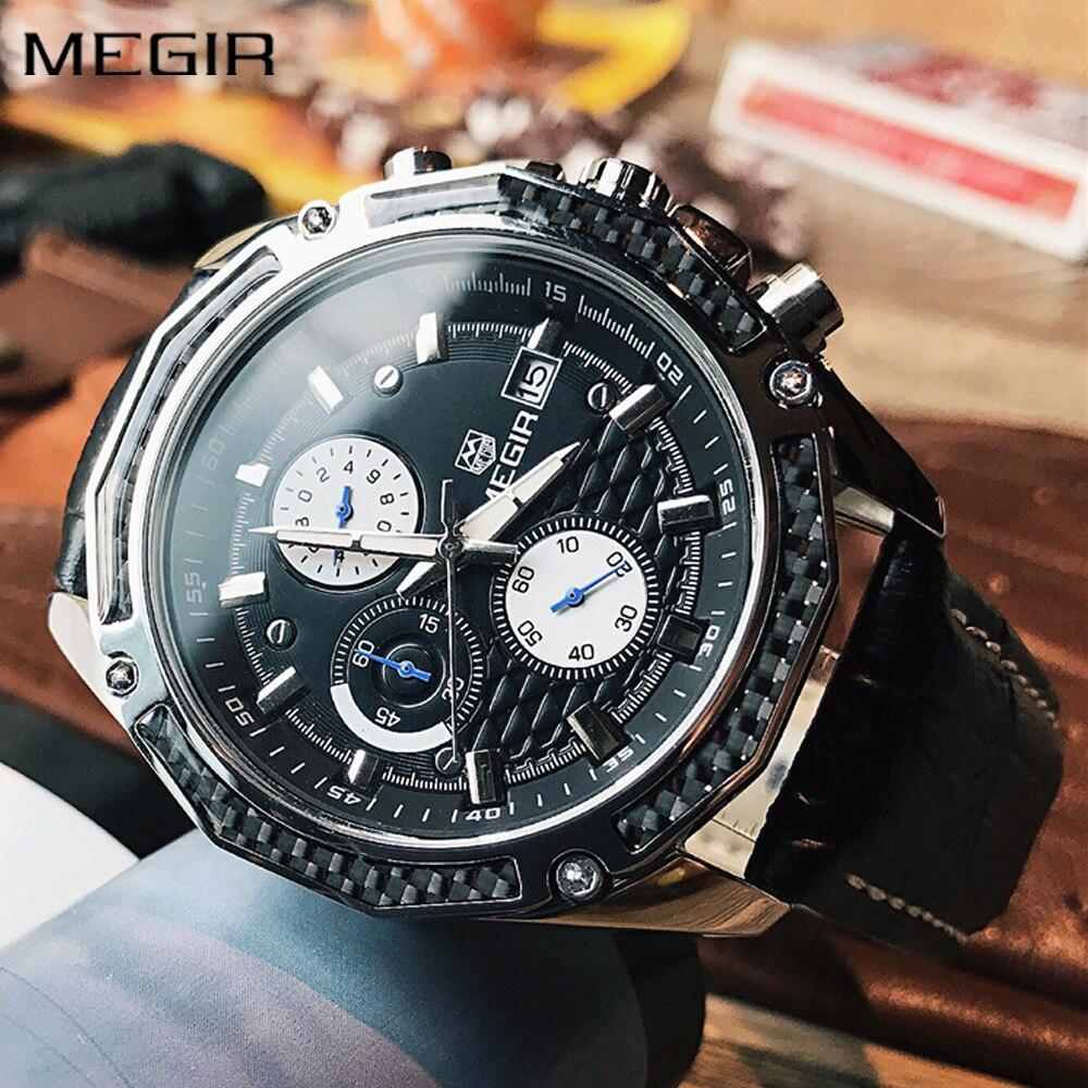 Autentyczne męskie zegarki kwarcowe MEGIR zegarki z prawdziwej - Męskie zegarki - Zdjęcie 6