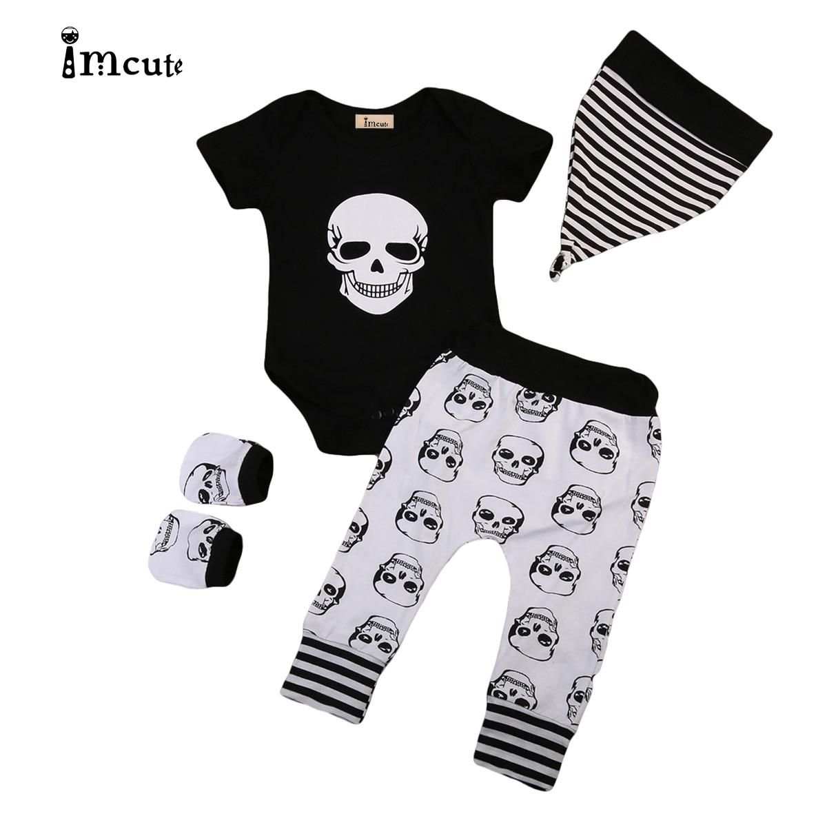 4PCS Newborn Baby Boy Girl Skull Clothes Short Sleeve Bodysuit +Long Pants+Hat+Gloves Outfits Set