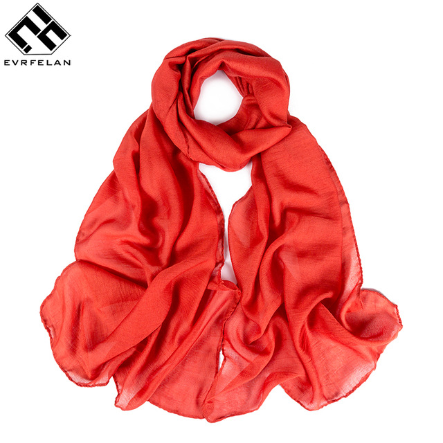 Evrfelan Fashion Solid Color Chiffon Scarf Women Brand Design Long Scarf Spring Autumn Female Shawls Cheap Scarves