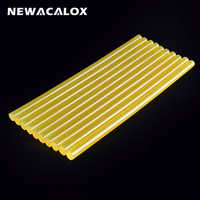 NEWACALOX 10pcs/lot 11mm* 270mm Yellow Hot Melt Glue Sticks DIY Tools Repair Silicone Stick Adhesive Car Audio Craft Alloy Acces