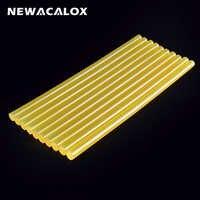 NEWACALOX 10pcs/lot 11mm* 270mm Yellow Hot Melt Glue Sticks DIY Tools Repair Silicone Stick Adhesive Car Audio Craft Alloy Acces